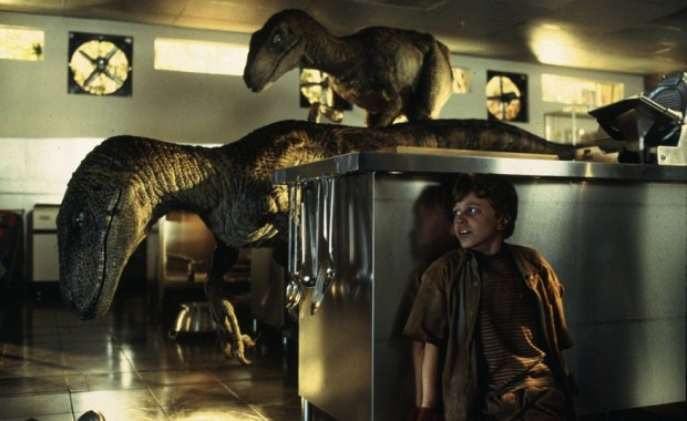 Jurassic Park raptors in kitchen